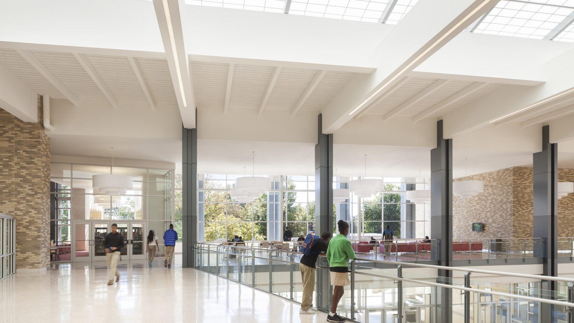 Dunbar High School balcony with window walls and skylights, Washington, D.C.